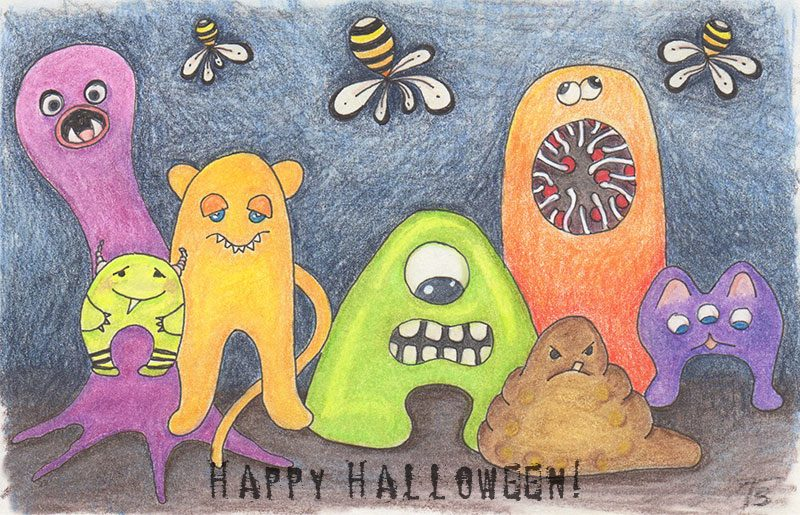 Hand-drawn image of little monsters.